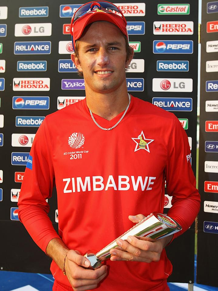KOLKATA, INDIA - MARCH 20:  Craig Ervine of Zimbabwe pictured with the 'Man of the Match' award after the ICC World Cup match between Kenya and Zimbabwe at Eden Gardens on March 20, 2011 in Kolkata, India.  (Photo by Matthew Lewis/Getty Images)