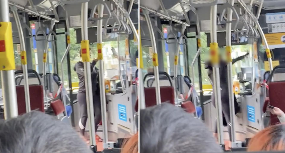 A woman stands at the front of a bus in Sydney and yells at the driver over the face mask rules for public transport