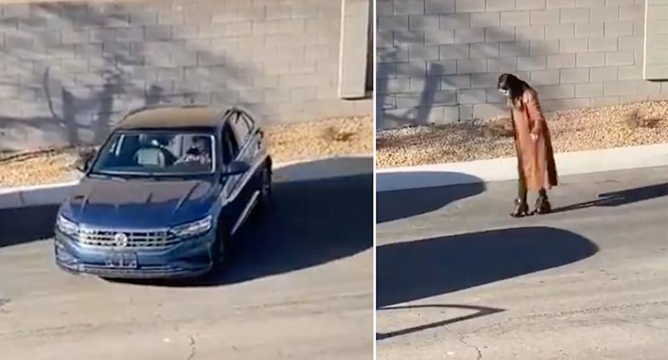 A woman attempting to reverse park her car (left) and measuring the parking space with her steps (right).