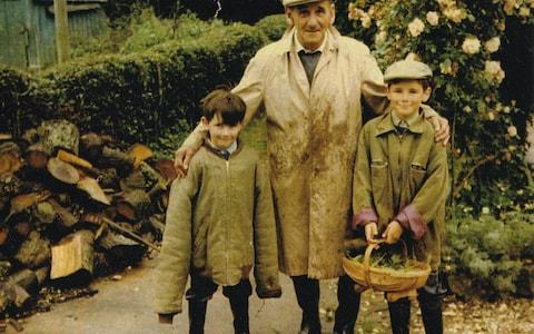 Mark Rylance (r) as a young boy with his grandfather, Osmond Skinner, and brother Jonathan - Credit: Wild Pictures/Channel 4