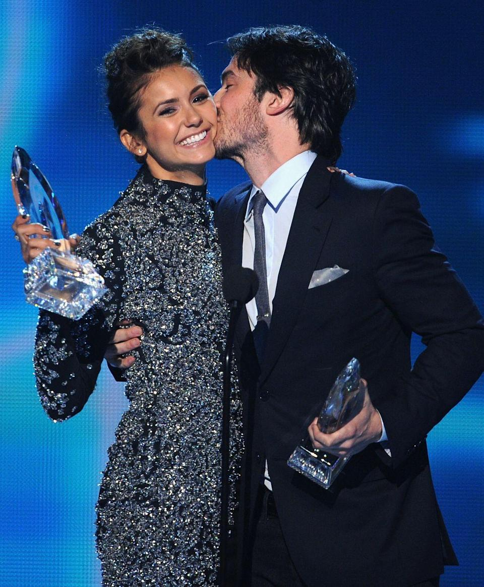 """<p>Elena Gilbert may have struggled in choosing between the Salvatore brothers on <em>The Vampire Diaries</em>, but for three years, Dobrev was team Somerhalder all the way. Their adorable off-screen relationship was #couplegoals for fans everywhere, but <a href=""""http://www.huffingtonpost.com/2013/05/09/nina-dobrev-ian-somerhalder-split-breakup_n_3244430.html"""" rel=""""nofollow noopener"""" target=""""_blank"""" data-ylk=""""slk:in 2013"""" class=""""link rapid-noclick-resp"""">in 2013</a> they decided to part ways, the world was heartbroken, and they continued to work together on <em>TVD</em> until Dobrev left the show in 2015. </p>"""