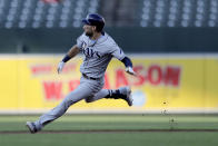 Tampa Bay Rays' Kevin Kiermaier hits the brakes after touching second base on a double off Baltimore Orioles starting pitcher Dylan Bundy during the first inning of a baseball game Friday, July 12, 2019, in Baltimore. (AP Photo/Julio Cortez)