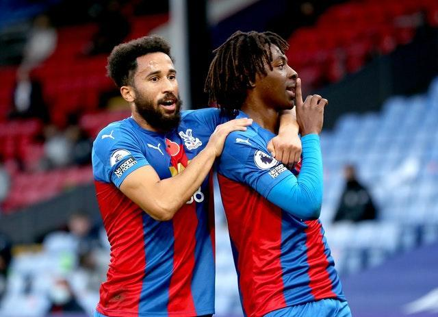 Eberechi Eze (right) celebrated his first goal for Crystal Palace with a fine free-kick