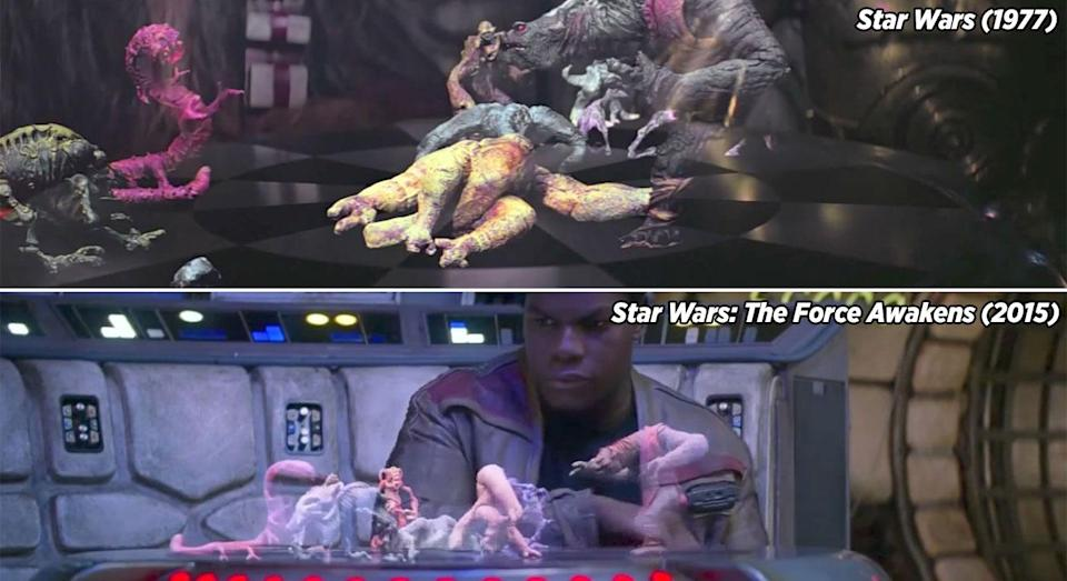 <p>In JJ Abrams' long-awaited 'Star Wars' sequel, Finn accidentally activates the holochess (dejarik) board on the Millennium Falcon. The game picks up in EXACTLY the same place as it was when we last saw Chewbacca and C-3PO playing it back in 1977's 'Star Wars'. </p>