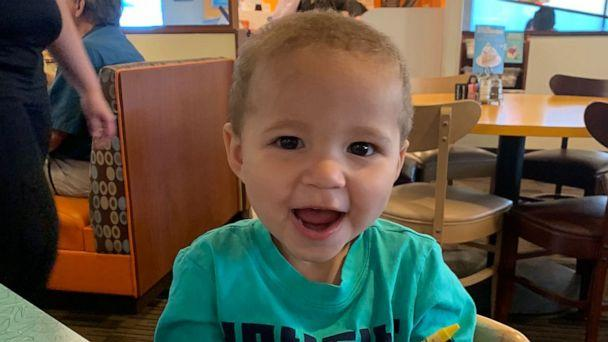 PHOTO: Kimberly and Todd Wieneke of Fort Smith, Arkansas, officially became parents to 2-year-old Jaden over the video chat app on April 16. The mom and dad of three had been fostering Jaden since May 2019. (Kimberly Wieneke)