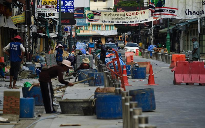 Work is underway to spruce up Khao San Road in time for August - Getty