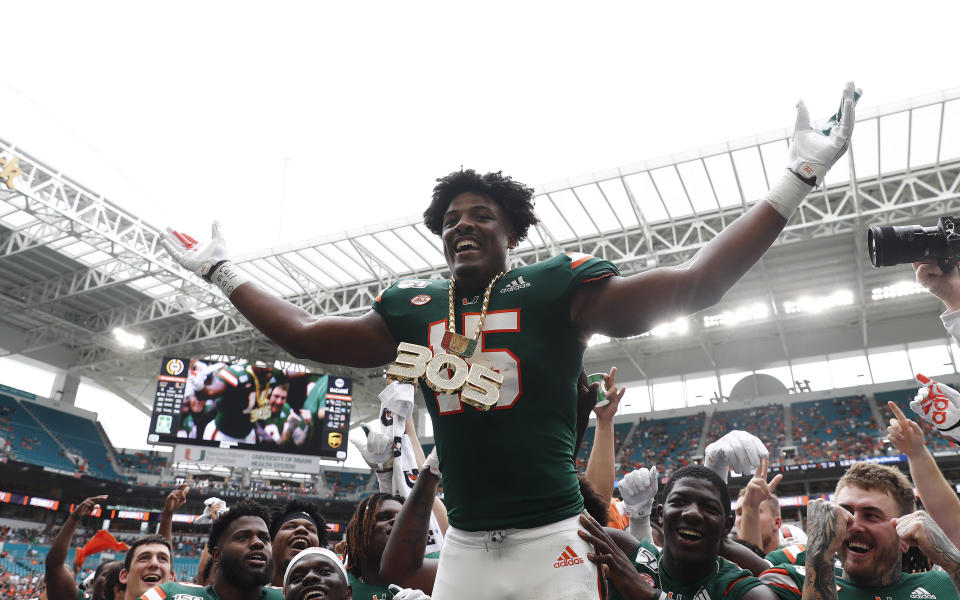 Miami's Gregory Rousseau was a freshman star in 2019, but how quickly will he adjust to the NFL? (AP Photo/Brynn Anderson)