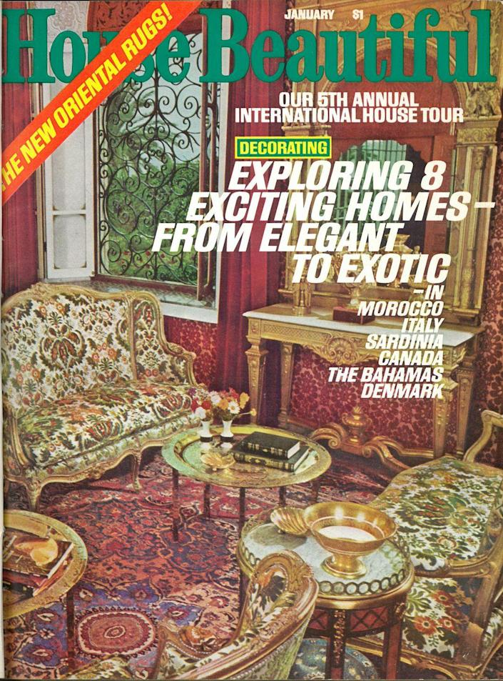 <p>The international house tour issues explored exciting homes around the world. This 1976 issue covered Morocco, Italy, Sardinia, Canada, The Bahamas, and Denmark.</p>
