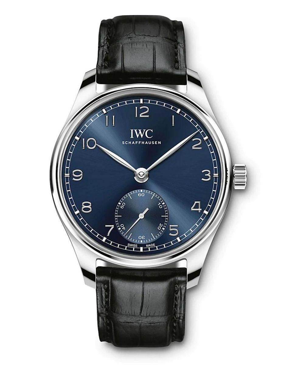 """<p><strong>IWC Schaffhausen</strong></p><p>saksfifthavenue.com</p><p><strong>$7450.00</strong></p><p><a href=""""https://go.redirectingat.com?id=74968X1596630&url=https%3A%2F%2Fwww.saksfifthavenue.com%2Fproduct%2Fiwc-schaffhausen-portugieser-stainless-steel--amp--alligator-strap-watch-0400013048318.html&sref=https%3A%2F%2Fwww.townandcountrymag.com%2Fstyle%2Fjewelry-and-watches%2Fg14418271%2Fbest-mens-luxury-watches%2F"""" rel=""""nofollow noopener"""" target=""""_blank"""" data-ylk=""""slk:Shop Now"""" class=""""link rapid-noclick-resp"""">Shop Now</a></p><p>In the late 1930s, IWC's Reference 325 came out with an open face and clear dial, establishing a classic design that still feels timeless in a new automatic model with a slick alligator strap.</p><p>Case size: 40.4 mm</p>"""