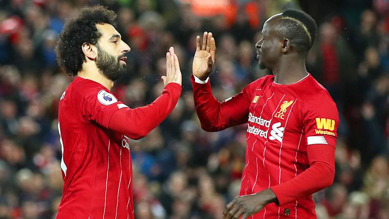 Pictured here Liverpool stars Mohamed Salah and Sadio Mane.