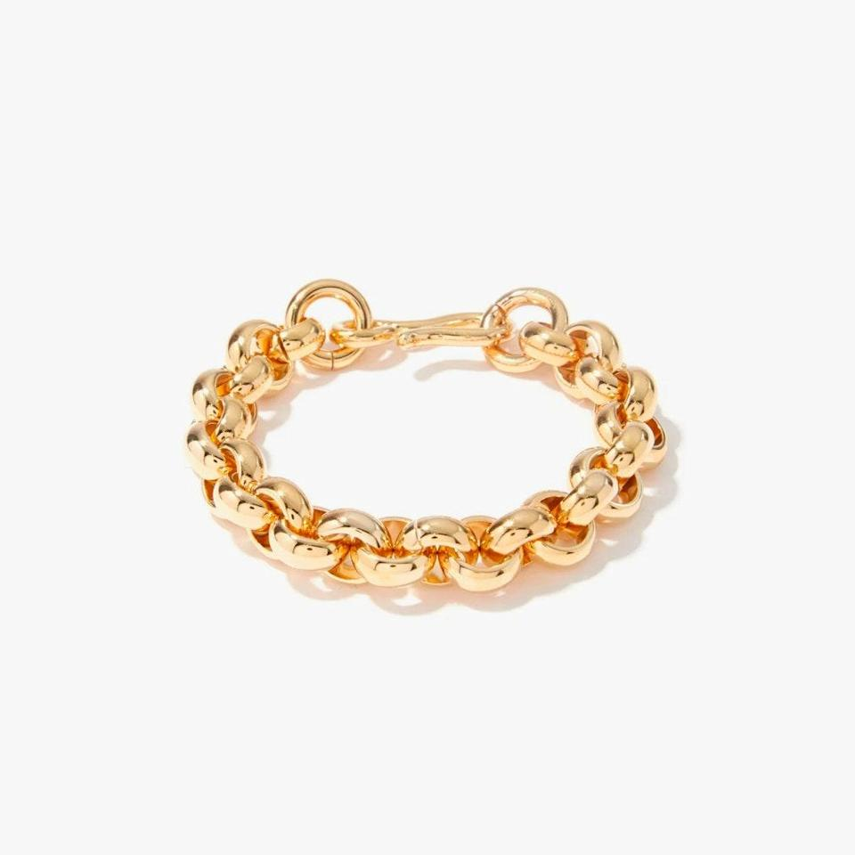 """$150, MATCHESFASHION.COM. <a href=""""https://www.matchesfashion.com/us/products/Laura-Lombardi-Piera-14kt-gold-plated-chain-bracelet-1423477"""" rel=""""nofollow noopener"""" target=""""_blank"""" data-ylk=""""slk:Get it now!"""" class=""""link rapid-noclick-resp"""">Get it now!</a>"""