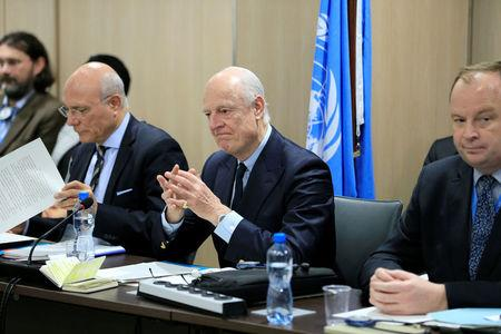 UN Special Envoy for Syria Staffan de Mistura attends a meeting of Intra-Syria peace talks with Syrian government delegation at Palais des Nations in Geneva, Switzerland, February 25, 2017. REUTERS/Pierre Albouy
