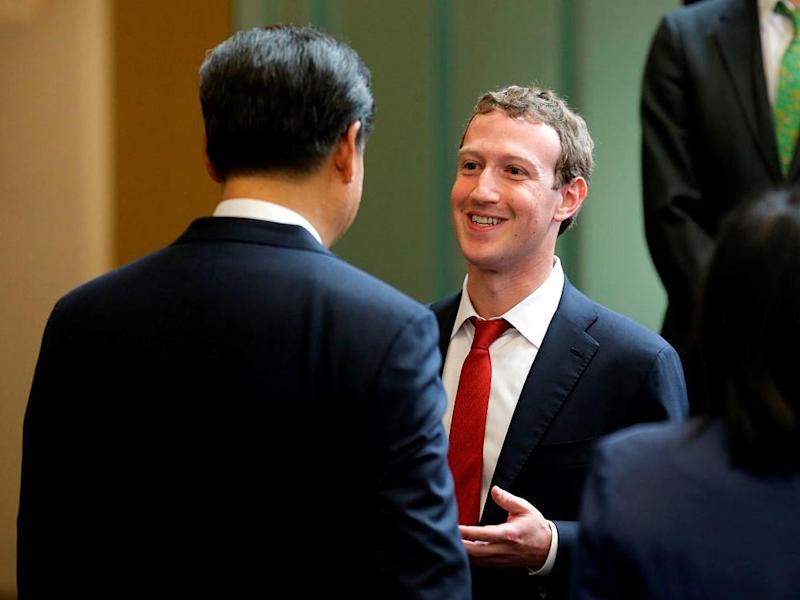 Chinese President Xi Jinping talks with Facebook CEO Mark Zuckerberg during a 2015 meeting. Facebook is currently banned in China: Getty Images