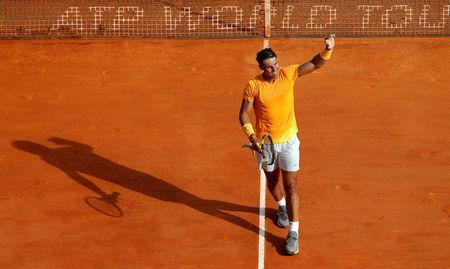 Tennis - ATP - Monte Carlo Masters - Monte-Carlo Country Club, Monte Carlo, Monaco - April 18, 2018 Spain's Rafael Nadal celebrates winning his second round match against Slovenia's Aljaz Bedene REUTERS/Eric Gaillard