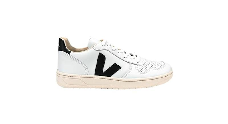 Veja V 10 Leather Extra White Black Womens Shoes