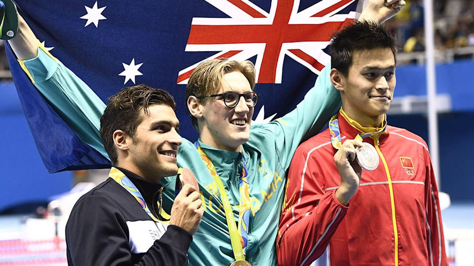Seen here, Australia's Mack Horton stands atop the podium at the Rio 2016 Games.