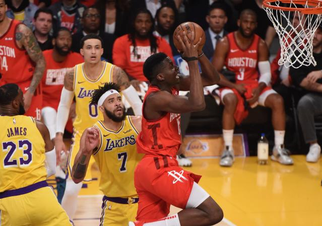 Clint Capela started his return to the Rockets lineup in style against the Lakers. (Getty)