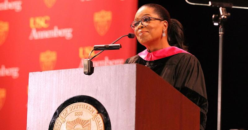 Media producer Oprah Winfrey addresses The USC Annenberg School For Communication And Journalism Celebrates Commencement at The Shrine Auditorium on May 11, 2018 in Los Angeles, California.