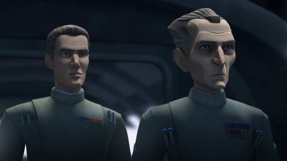 Two CG animated Imperial officers stand next to each other in The Bad Batch