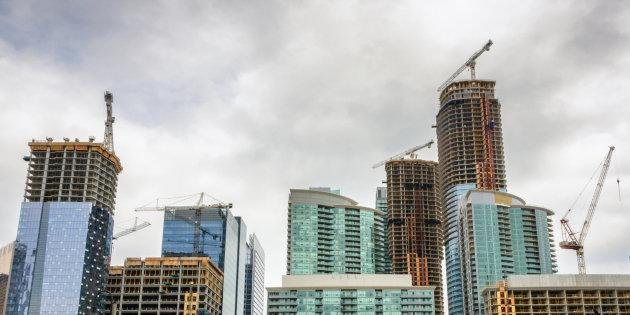 Condo buildings under construction in downtown Toronto. Rental rates have spiked in the city in the past year, a phenomenon seen in all three of Canada's largest cities, according to data from Padmapper.