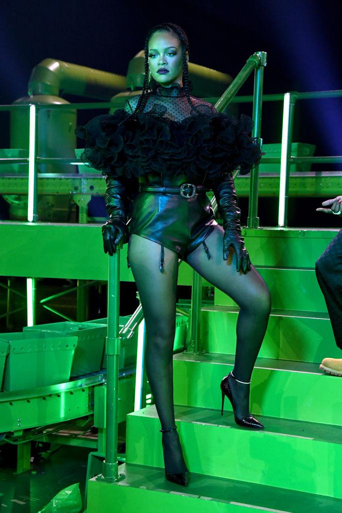 In this image released on October 1, Rihanna is seen wearing lingerie onstage during Rihanna's Savage X Fenty Show Vol. 2 presented by Amazon Prime Video at the Los Angeles Convention Center in Los Angeles, California; and broadcast on October 2, 2020