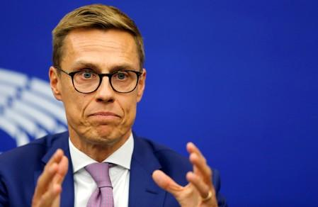 FILE PHOTO: Finland's Stubb attends a press breefing at the European Parliament in Strasbourg