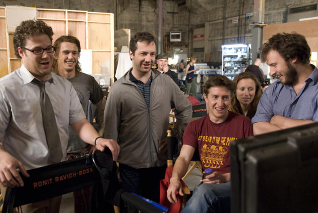 Seth Rogen, James Franco and Judd Apatow on the set of Pineapple Express, 2008