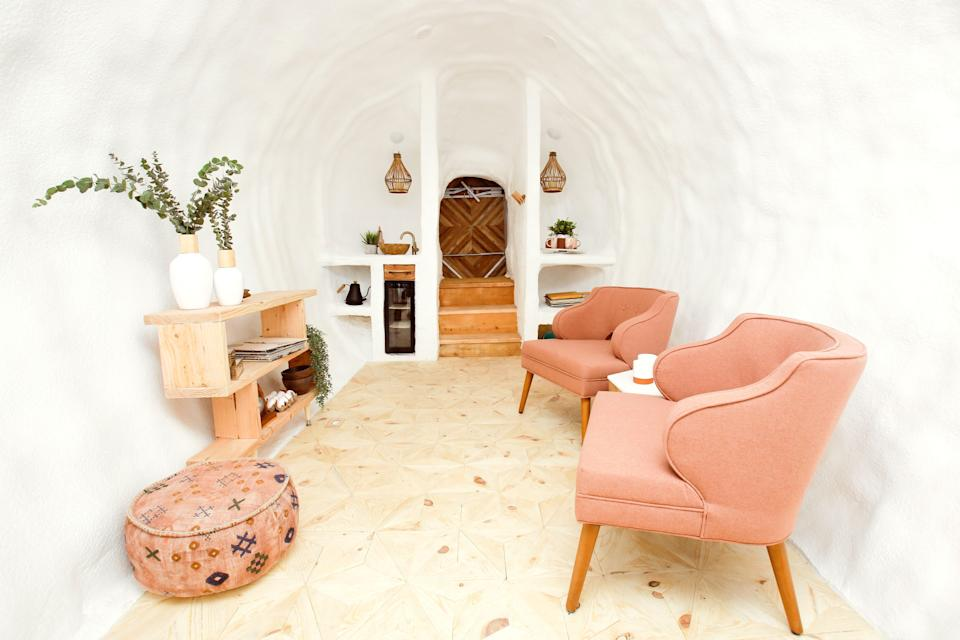 """<p>airbnb.com</p><p><strong>$190.00</strong></p><p><a href=""""https://www.airbnb.com/rooms/32011367"""" rel=""""nofollow noopener"""" target=""""_blank"""" data-ylk=""""slk:BOOK NOW"""" class=""""link rapid-noclick-resp"""">BOOK NOW</a></p><p>Stay in a recycled potato from the Idaho Potato Commission's 48-state Big Potato Tour in its permanent home in Boise. Finished with vintage furnishings and stucco walls, the details keep the kitschy home usable and cozy. </p>"""