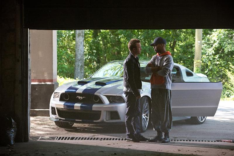 "This image released by DreamWorks II shows Aaron Paul, left, and Scott Mescudi in a scene from ""Need for Speed."" (AP Photo/DreamWorks II, Melinda Sue Gordon)"