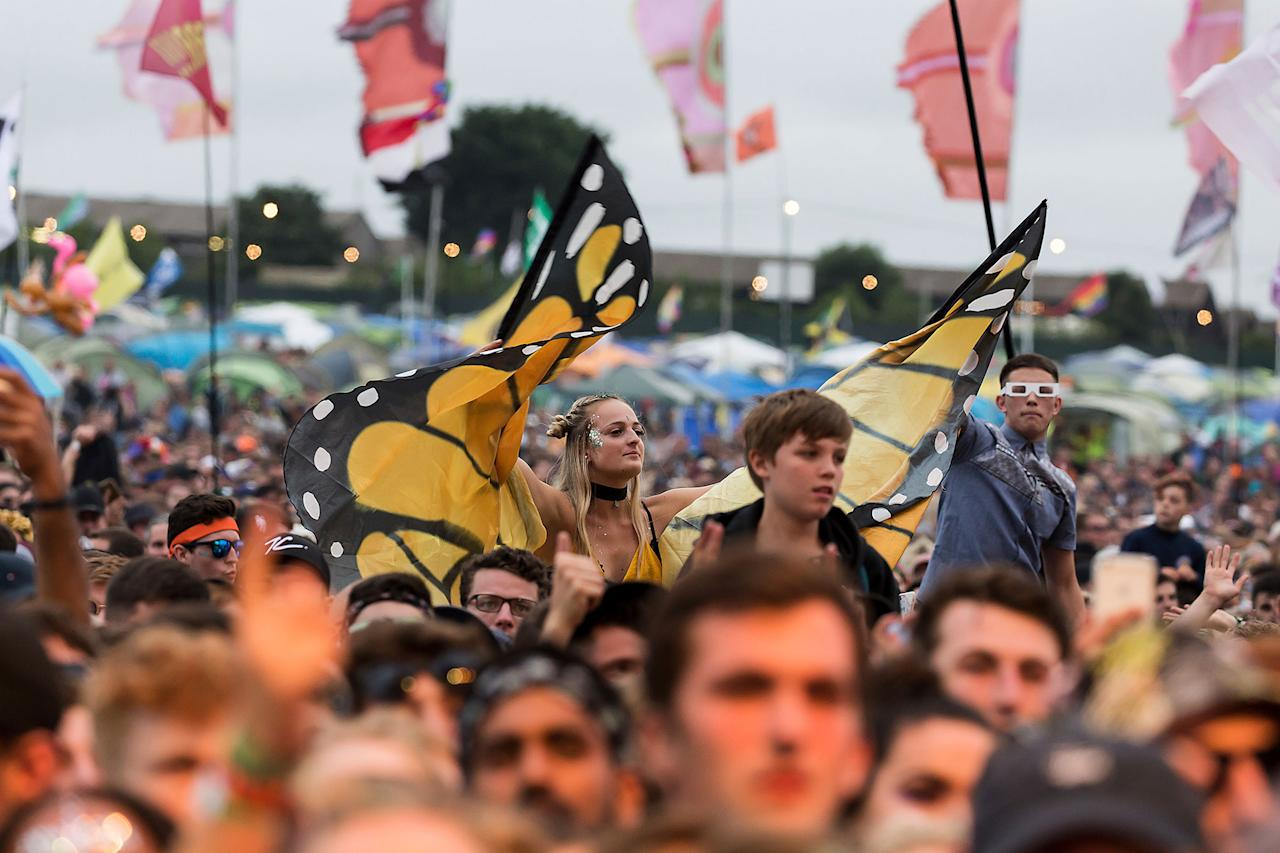 <p>Festival goers watch grime artist Stormzy perform at the Glastonbury Festival at Worthy Farm, in Somerset, England, Saturday, June 24, 2017. (Photo: Grant Pollard/Invision/AP) </p>
