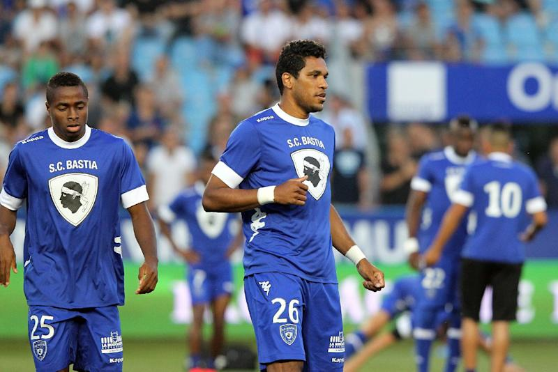 Bastia's Brazilian striker Brandao (C) warms up prior to the French Ligue 1 match against Marseille at the Armand Cesari stadium in Bastia, Corsica on August 9, 2014