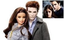 <p>Robert Pattinson's 'Twilight' vampire Edward gets an ultra-pale, spiky-haired action figure (while Kristen Stewart is simply replaced by a brunette Barbie). (Photo: Mattel/Summit)</p>