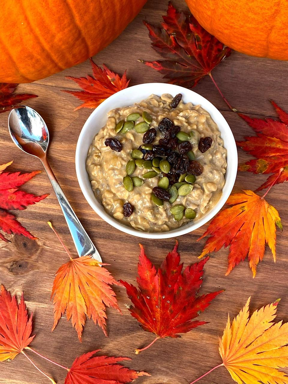 """<p>Wake up to the seasonal flavors of pumpkin pie with this exceptionally creamy and perfectly spiced overnight oats recipe. The best part is that you'll enjoy this breakfast for a week because this recipe makes five jars at once, saving you time and ensuring you have a healthy breakfast waiting for you every morning.</p> <p><strong>Get the recipe</strong>: <a href=""""https://www.popsugar.com/fitness/meal-prep-week-pumpkin-spice-overnight-oats-47886850"""" class=""""link rapid-noclick-resp"""" rel=""""nofollow noopener"""" target=""""_blank"""" data-ylk=""""slk:pumpkin spice overnight oats"""">pumpkin spice overnight oats</a></p>"""