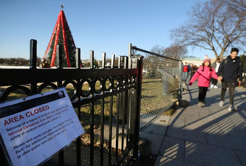 The area around the National Christmas Tree near the White House has been closed by the partial government shutdown, which US Budget Director Mick Mulvaney said could last into 2019 (AFP Photo/MARK WILSON)
