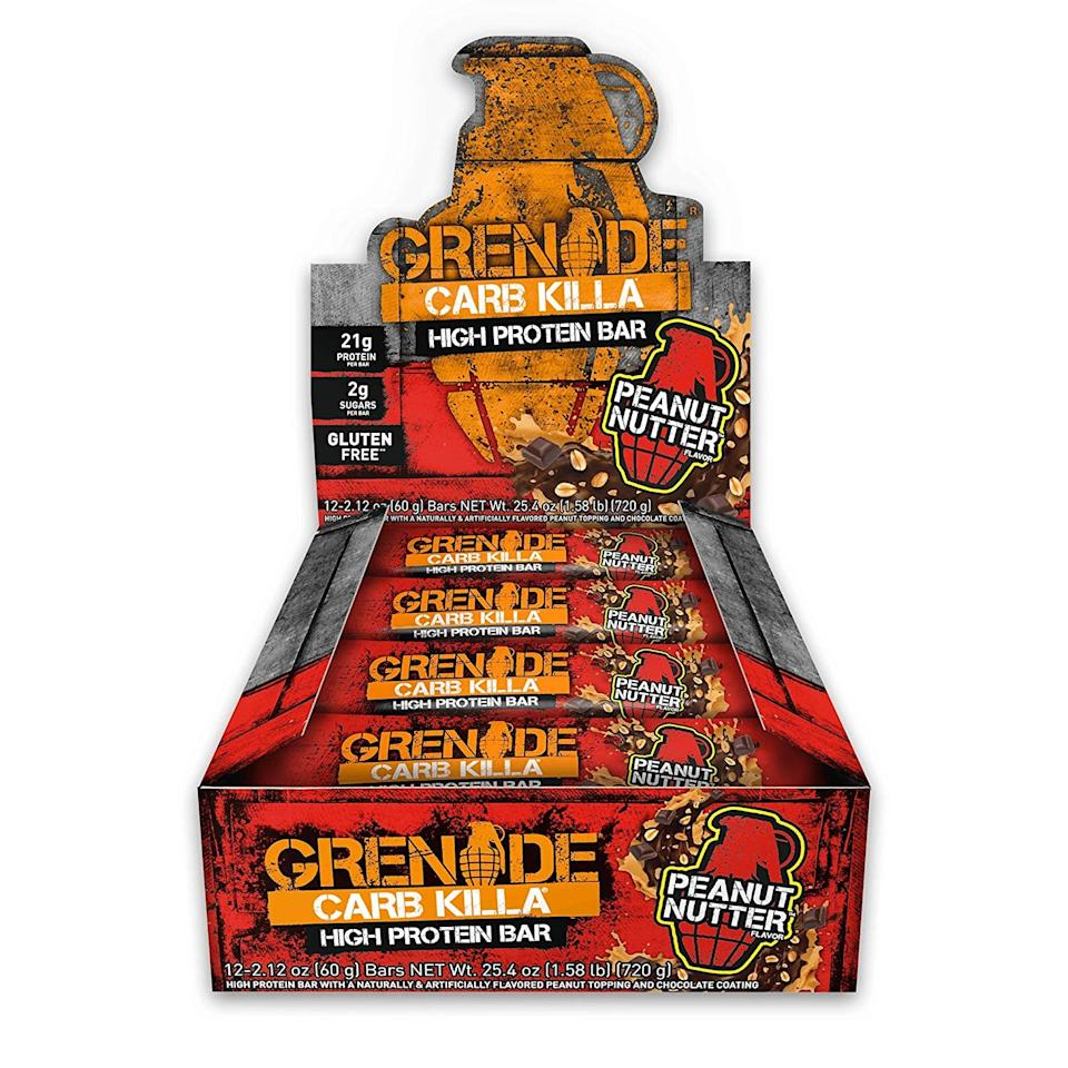 "<p>We've heard nothing but good things about this <a href=""https://www.popsugar.com/buy/Grenade%20Carb%20Killa%20Protein%20Chocolate%20Bar-474122?p_name=Grenade%20Carb%20Killa%20Protein%20Chocolate%20Bar&retailer=amazon.com&pid=474122&price=31&evar1=fit%3Auk&evar9=46441226&evar98=https%3A%2F%2Fwww.popsugar.com%2Ffitness%2Fphoto-gallery%2F46441226%2Fimage%2F46441616%2FGrenade-Carb-Killa-Protein-Chocolate-Bar&list1=shopping%2Camazon%2Csugar%2Chealthy%20snacks%2Csnacks&prop13=api&pdata=1"" rel=""nofollow"" data-shoppable-link=""1"" target=""_blank"" class=""ga-track"" data-ga-category=""Related"" data-ga-label=""https://www.amazon.com/Grenade-Nutrition-Protein-Supplement-Peanut/dp/B01MS8LYJU/ref=sr_1_1?keywords=Grenade%2BCarb%2BKilla%2BHigh%2BProtein%2Band%2BLow%2BCarb%2BBar&amp;qid=1564596507&amp;s=gateway&amp;sr=8-1&amp;th=1"" data-ga-action=""In-Line Links"">Grenade Carb Killa Protein Chocolate Bar</a> ($31 for 12). It's beloved by customers on Amazon and POPSUGAR readers, and has only two grams of sugar per serving.</p>"