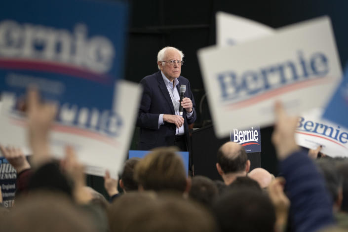 Sen. Bernie Sanders during a campaign rally in Milford, N.H., on Tuesday. (Mary Altaffer/AP)