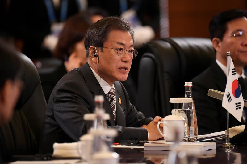 South Korea's President Moon Jae-in speaks at the 8th trilateral leaders' meeting between China, South Korea and Japan in Chengdu