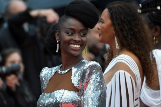 French actress Aissa Maiga at the glamorous red carpet protest in Cannes