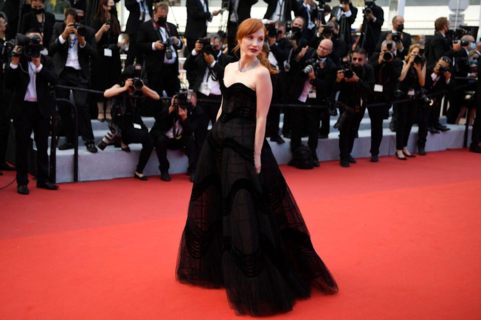 Jessica Chastain in Dior couture (AFP via Getty Images)