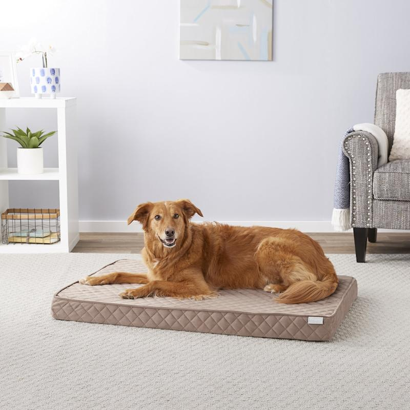 Frisco Ortho Quilted Solid Memory Foam Lounger Pet Bed. (Photo: Chewy)