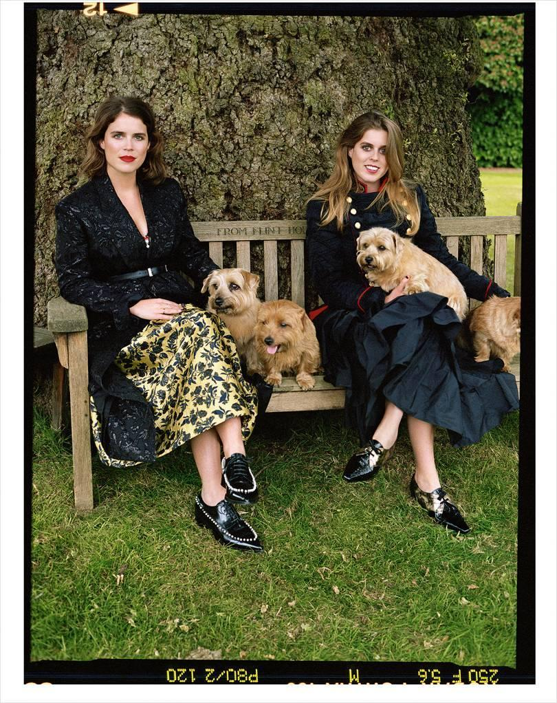 Princess Eugenie, left, with her sister Beatrice during their British Vogue shoot, shot in the grounds of Royal Lodge [Photo: Sean Thomas]