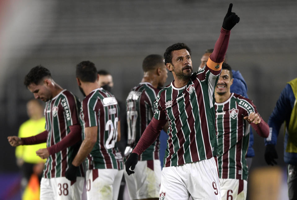 BUENOS AIRES, ARGENTINA - MAY 25: Fred of Fluminense celebrates the the second goal of his team scored by teammate Nene (not in frame) during a group D match of Copa CONMEBOL Libertadores 2021 between River Plate and Fluminense at Estadio Monumental Antonio Vespucio Liberti on May 25, 2021 in Buenos Aires, Argentina. (Photo by Juan Mabromata-Pool/Getty Images)