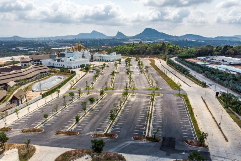 An empty parking lot at the Legend Siam theme park in Pattaya, which usually attracts up to 20,000 visitors a day