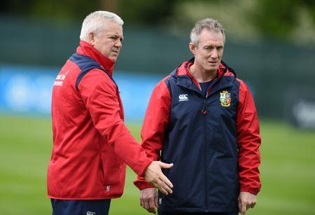 Rugby Union - British & Irish Lions Training & Press Conference - Carton House, Co. Kildare, Ireland - 22/5/17 British & Irish Lions Head Coach Warren Gatland (L) and Coach Rob Howley during training  Reuters  / Clodagh Kilcoyne Livepic