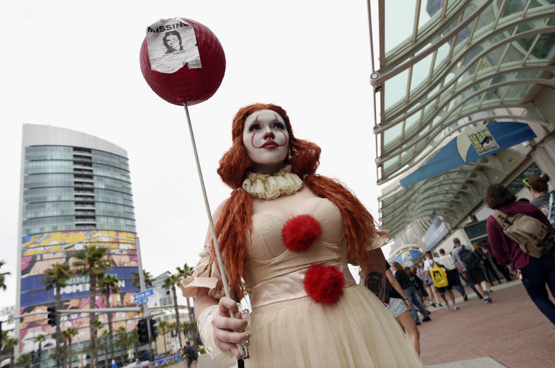 """Ana Niebla, of San Diego, models her own """"Princess Pennywise"""" outfit before Preview Night of the 2019 Comic-Con International: San Diego, Wednesday, July 17, 2019, in San Diego, Calif. (Photo by Chris Pizzello/Invision/AP)"""