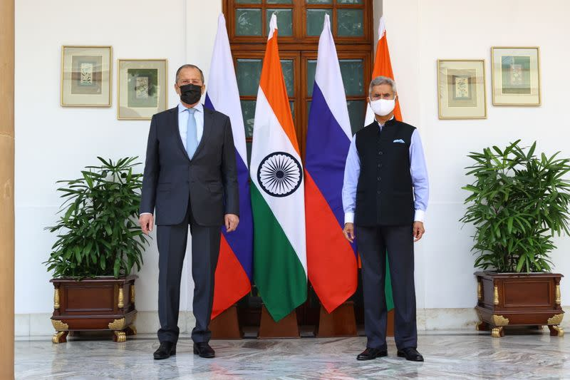 Russia's Foreign Minister Lavrov meets with his Indian counterpart Jaishankar in New Delhi