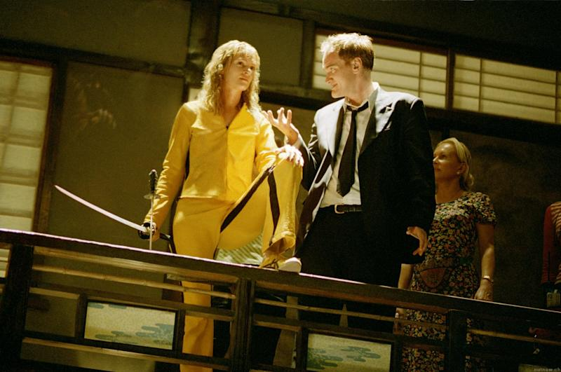Uma Thurman and Quentin Tarantino on the set of Kill Bill Vol. 1.