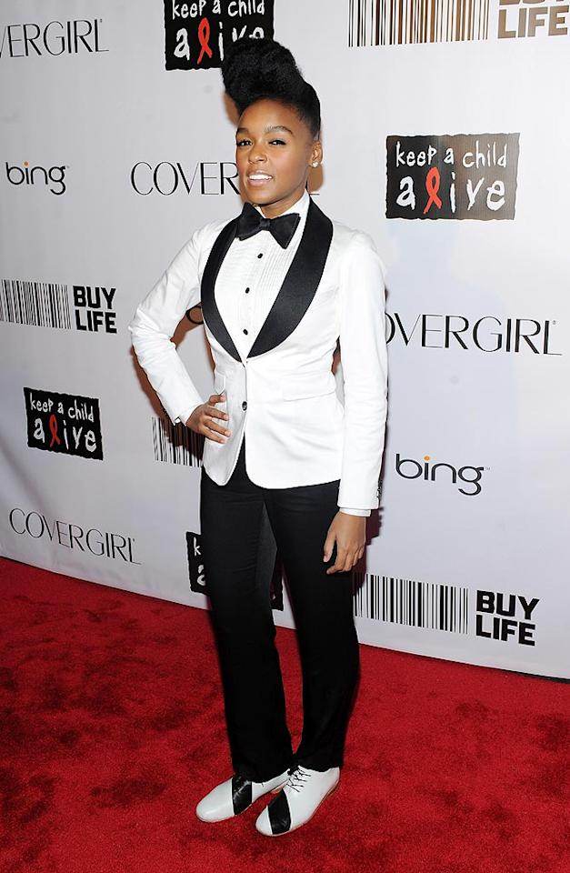 """Sporting her trademark black-and-white uniform, soulful """"Tightrope"""" singer Janelle Monae made a hair-raising statement with her sky-high tresses. Stephen Lovekin/<a href=""""http://www.gettyimages.com/"""" target=""""new"""">GettyImages.com</a> - September 30, 2010"""