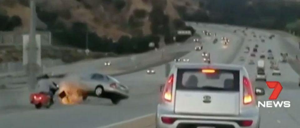 In Los Angeles a motorbike rider kicked a car door, setting off a chain of accidents. Source: 7 News