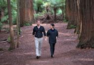 <p>The couple ended their 16-day visit with a stroll through the Redwoods Tree Walk in Rotorua looking very chill and happy to be in each other's company.</p>